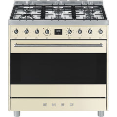 SMEG - 90cm Symphony Cooker with 6 Burner Gas Hob and Multifunction Oven