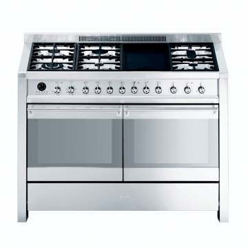 SMEG - 120cm Stainless Steel Opera Double Cavity Range Cooker