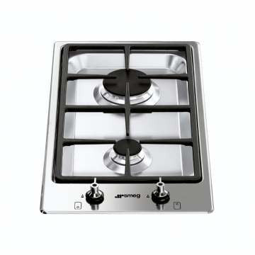 SMEG - 30cm Stainless Steel Double Burner Domino Gas Hob