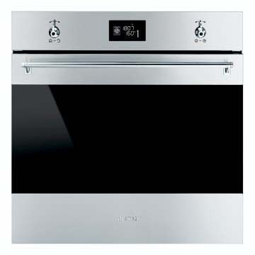 SMEG - 60cm Classic Stainless Steel and Black Eclipse Glass Multifunction Electric Oven