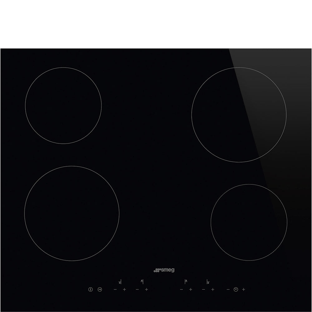 SMEG - 60cm Black Glass with Straight Edge Ceramic Hob