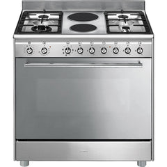 SMEG - 90cm Concert Cooker with 6 Burner Gas/Electric Hob and Multifunction Oven