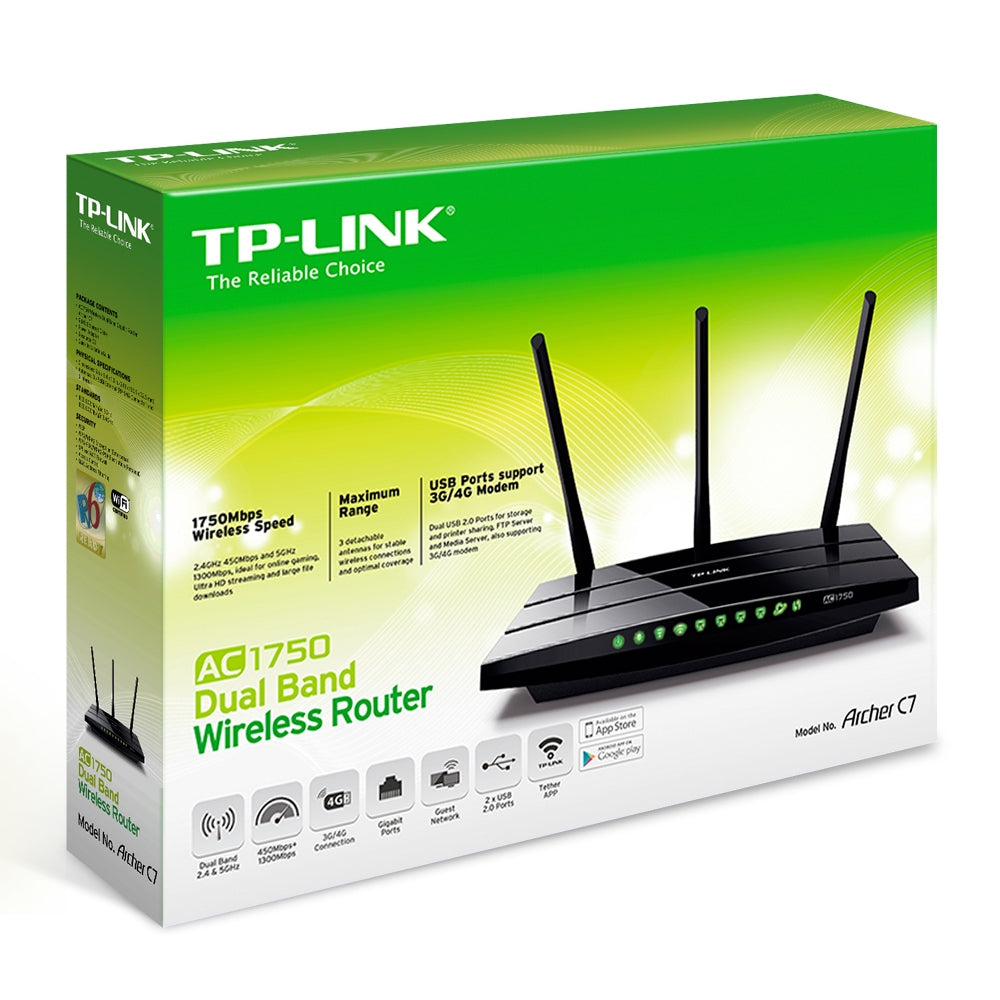 TP-LINK - AC1750 Wireless Dual Band Gigabit Router Archer C7