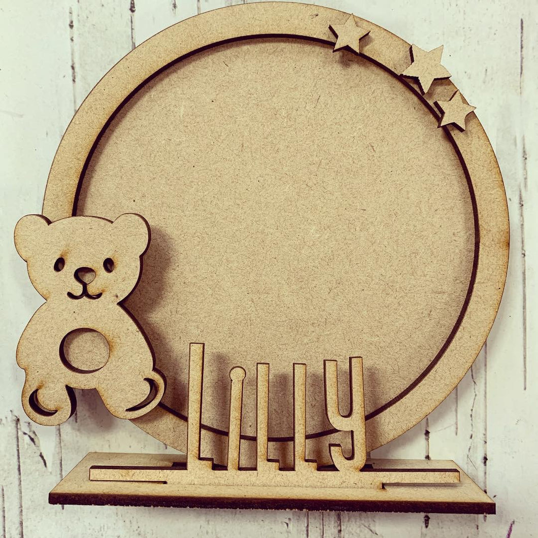 CF011 - MDF Teddy Themed Personalised Freestanding Circular Photo Frame