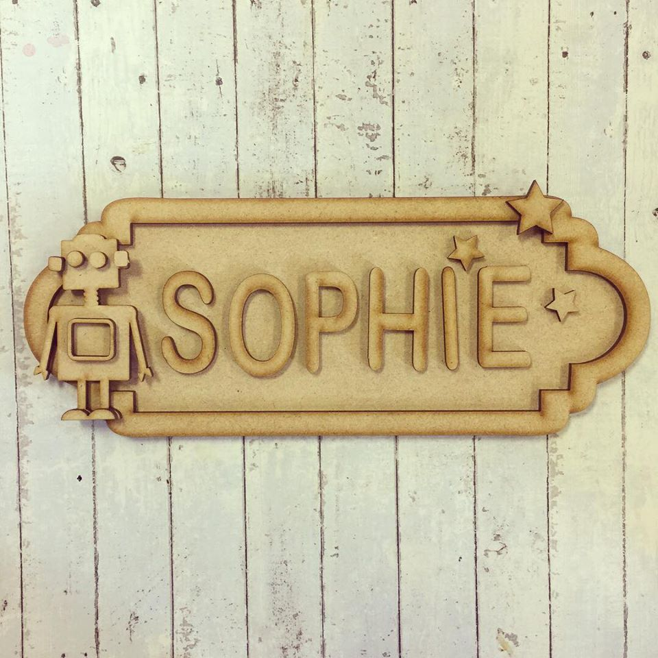 SS022 - MDF Robot Theme Personalised Street Sign - Large (12 letters)
