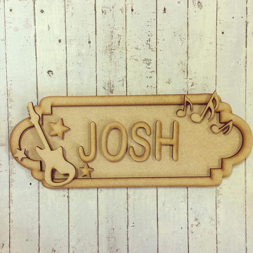 SS030 - MDF Guitar Theme Personalised Street Sign - Small (6 letters)