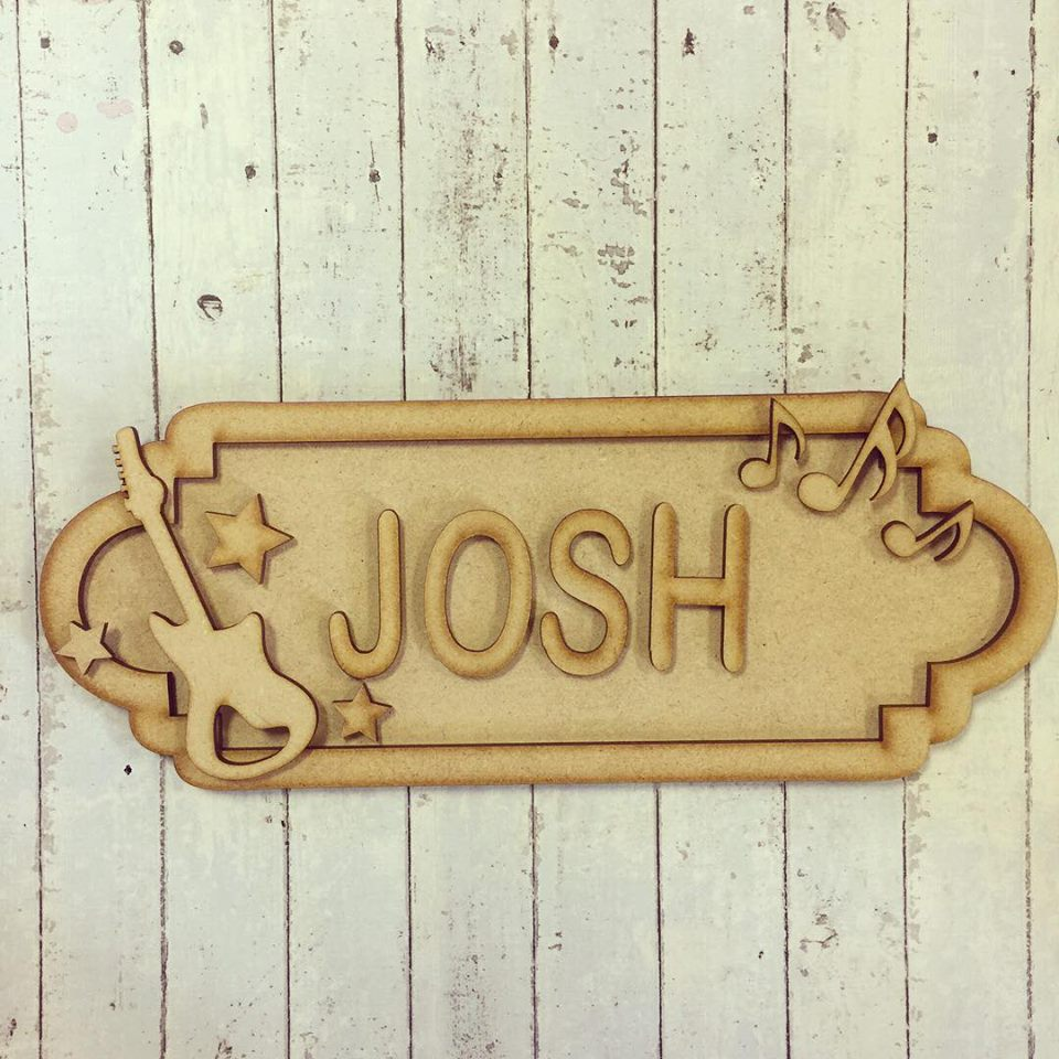 SS030 - MDF Guitar Theme Personalised Street Sign - Small (6 letters) - Olifantjie - Wooden - MDF - Lasercut - Blank - Craft - Kit - Mixed Media - UK