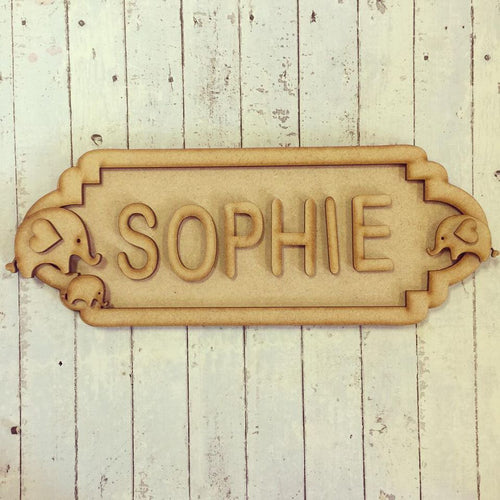 SS033 - MDF Elephants Theme Personalised Street Sign - Small (6 letters)