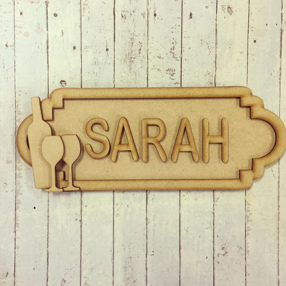 SS035 - MDF Wine Theme Personalised Street Sign - Medium (8 letters) - Olifantjie - Wooden - MDF - Lasercut - Blank - Craft - Kit - Mixed Media - UK