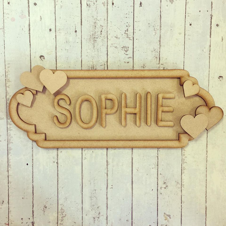 SS029 - MDF Hearts Theme Personalised Street Sign - Medium (8 letters)