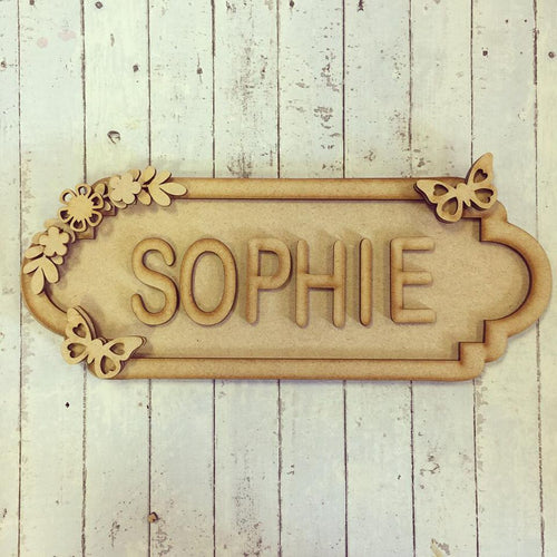 SS026 - MDF Butterfly Theme Personalised Street Sign - Medium (8 letters)