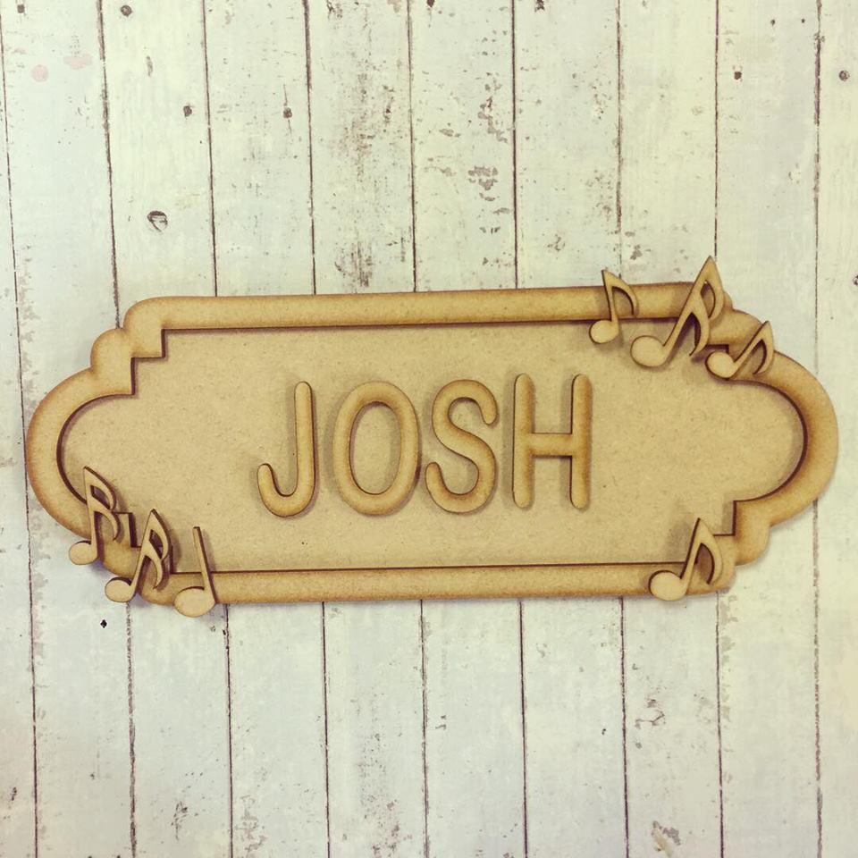 SS031 - MDF Music Theme Personalised Street Sign - Small (6 letters) - Olifantjie - Wooden - MDF - Lasercut - Blank - Craft - Kit - Mixed Media - UK