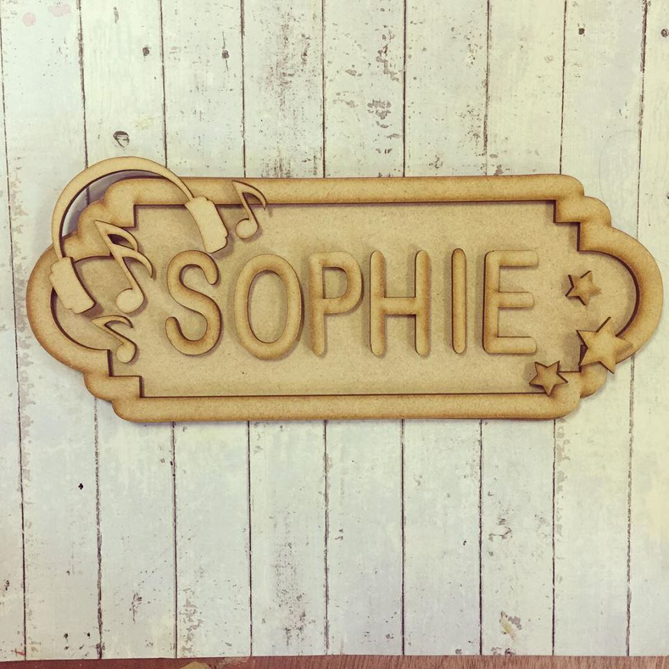 SS032 - MDF Headphone Theme Personalised Street Sign - Small (6 letters) - Olifantjie - Wooden - MDF - Lasercut - Blank - Craft - Kit - Mixed Media - UK