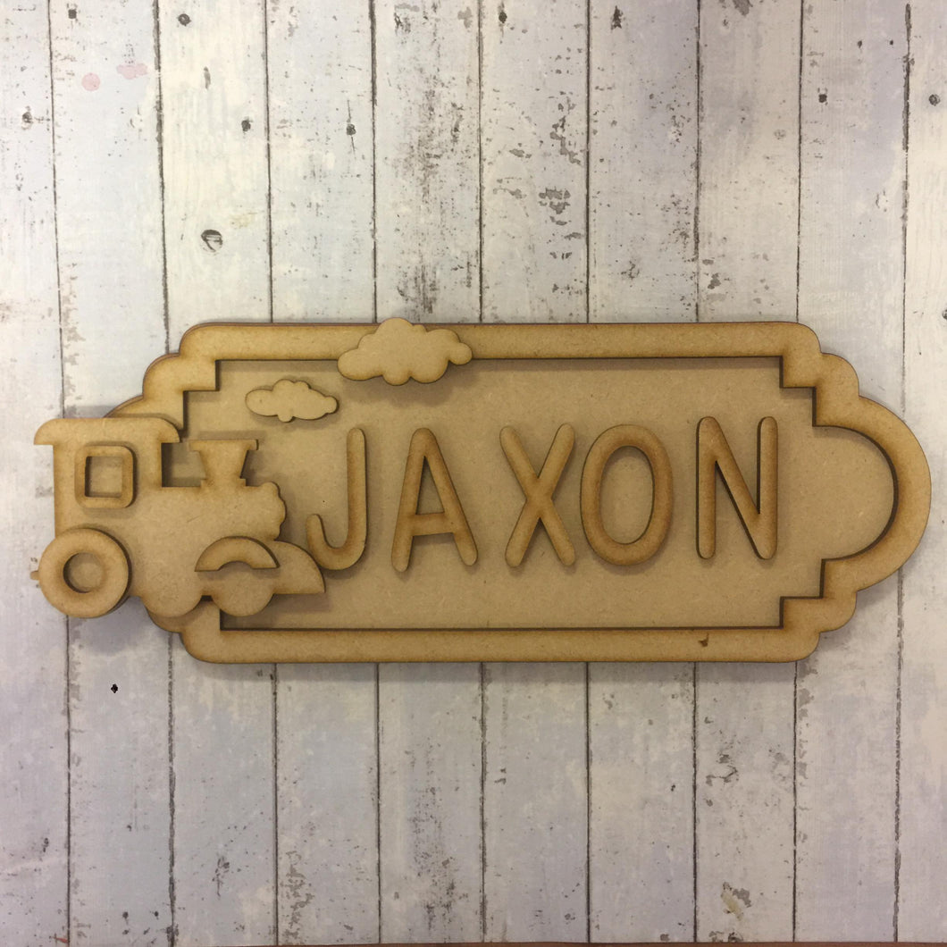 SS038 - MDF Train Theme Personalised Street Sign - Medium (8 letters)