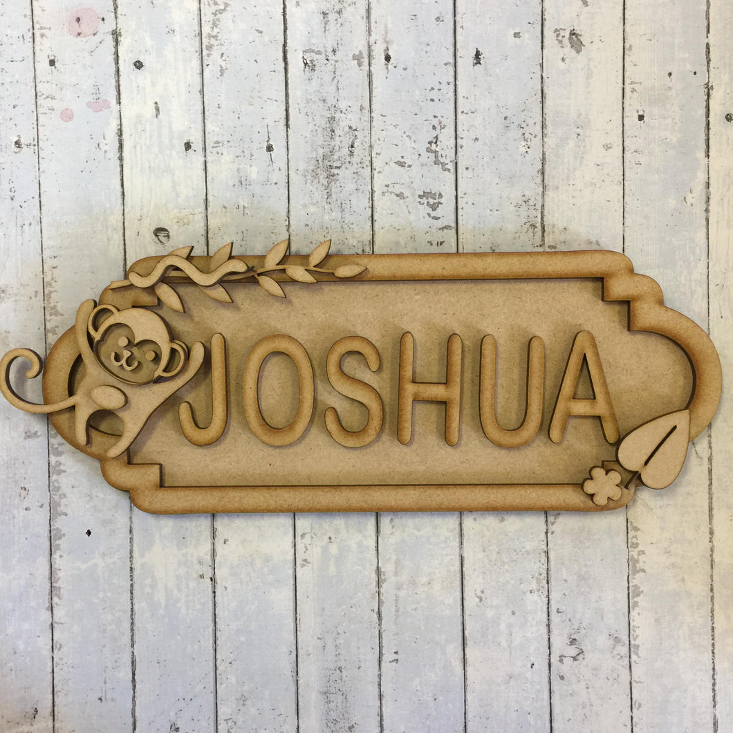 SS037 - MDF Monkey Theme Personalised Street Sign - Large (12 letters)