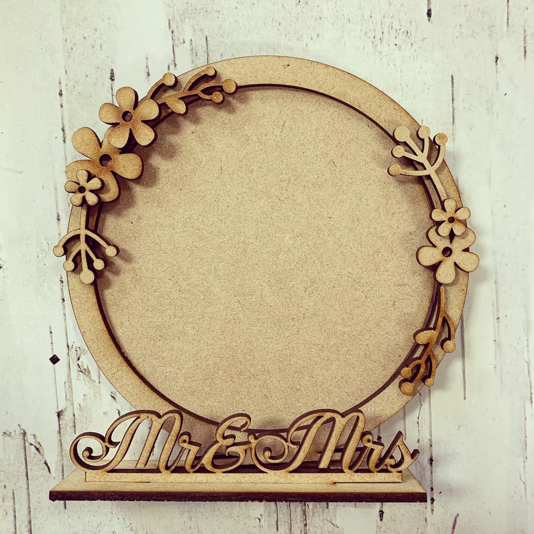 CF017 - MDF Retro Flowers Themed Personalised Freestanding Circular Photo Frame - Olifantjie - Wooden - MDF - Lasercut - Blank - Craft - Kit - Mixed Media - UK