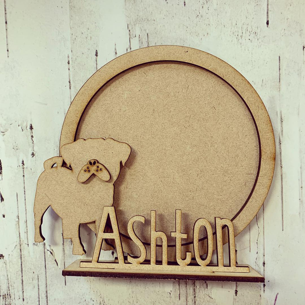 CF028 - MDF Pug Themed Personalised Freestanding Circular Photo Frame