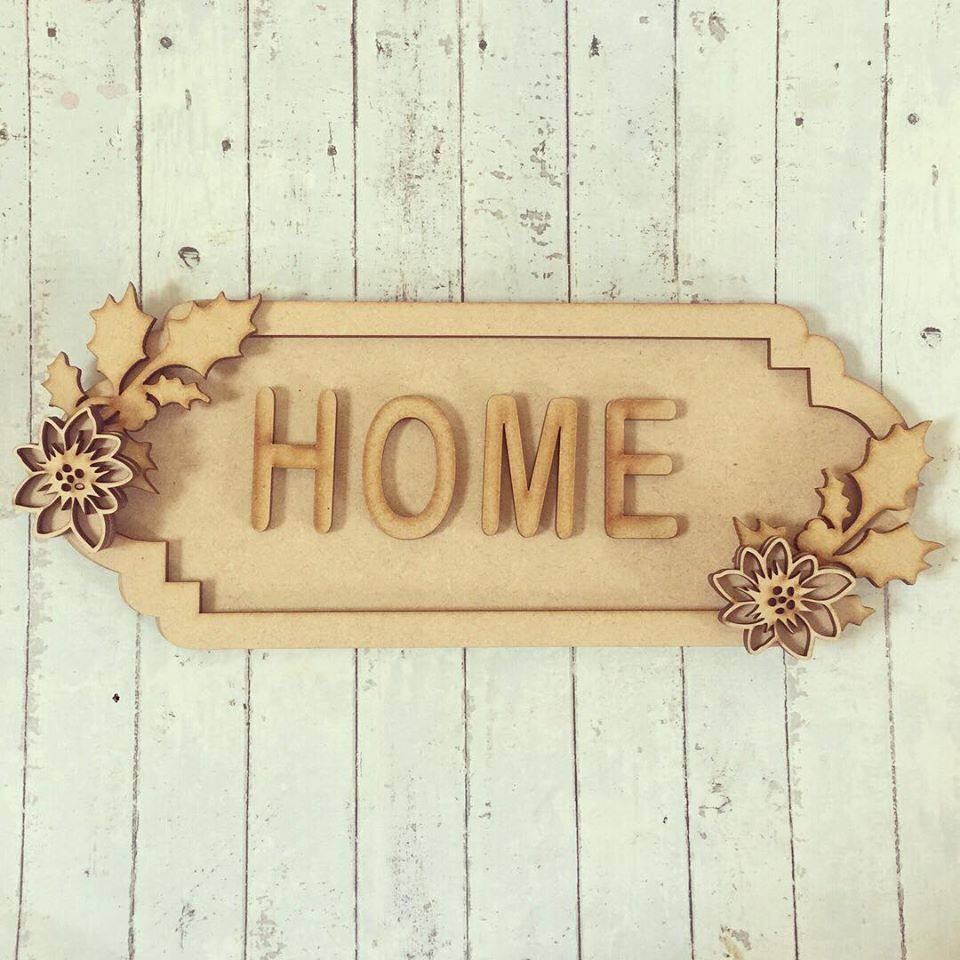 SS065 - MDF Holly Poinsettia Themed Personalised Street Sign - Large (12 letters)