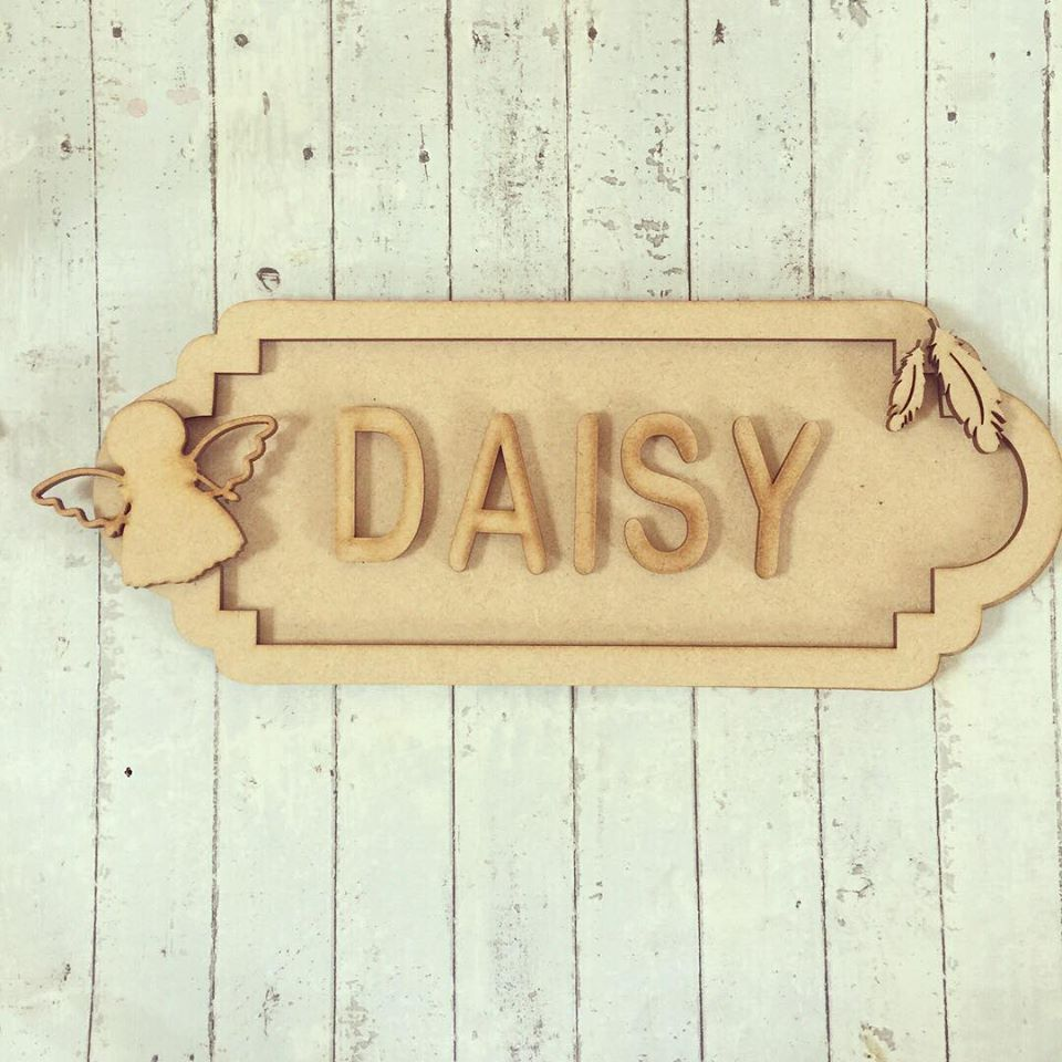 SS063 - MDF Angel Themed Personalised Street Sign - Small (6 letters)