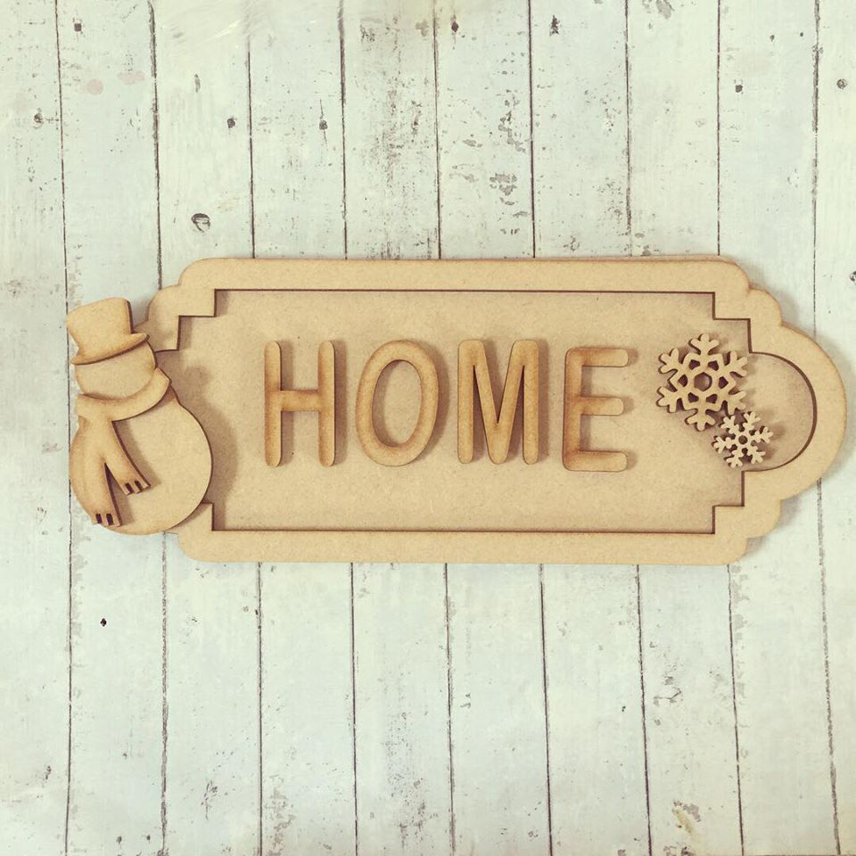 SS061 - MDF Snowman Themed Personalised Street Sign - Small (6 letters)