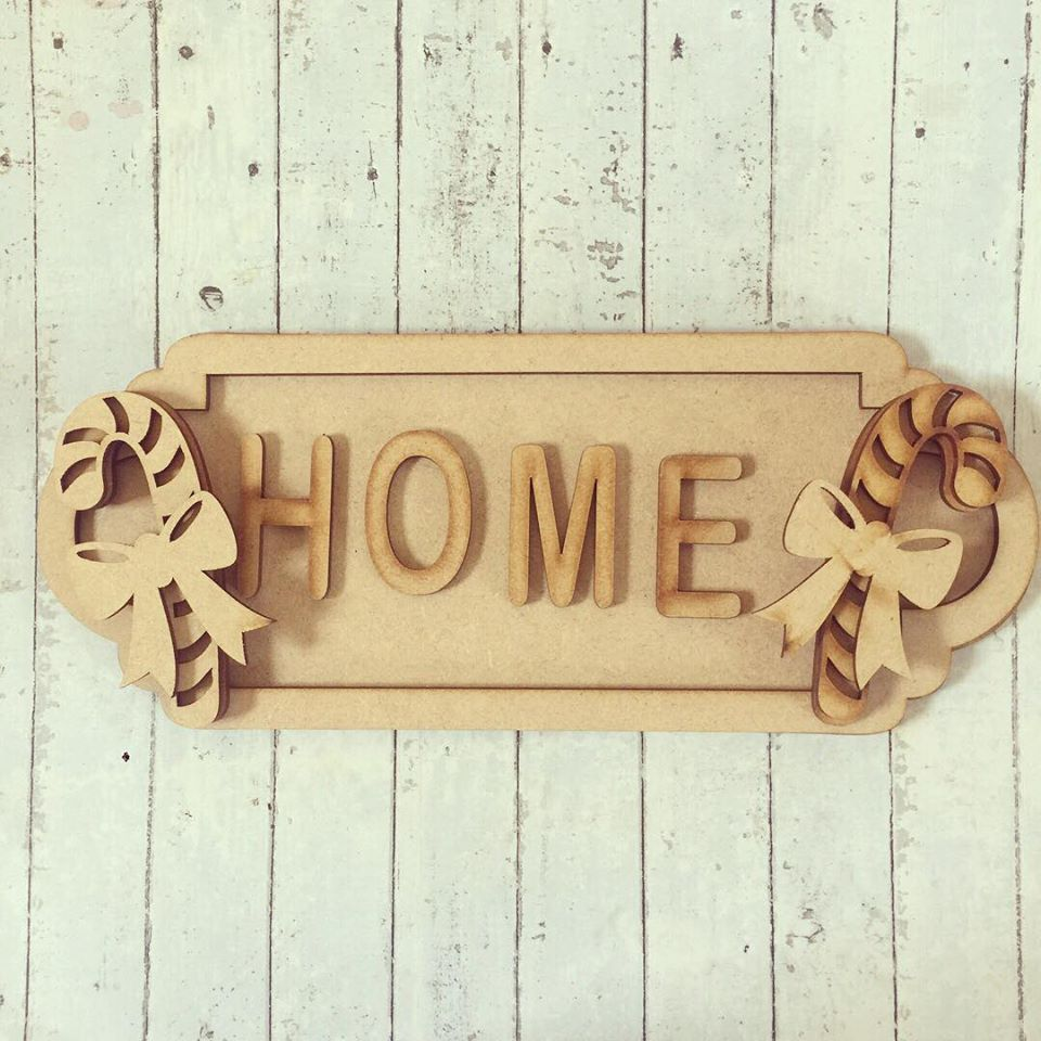 SS066 - MDF Candy Cane Themed Personalised Street Sign - Medium (8 letters)