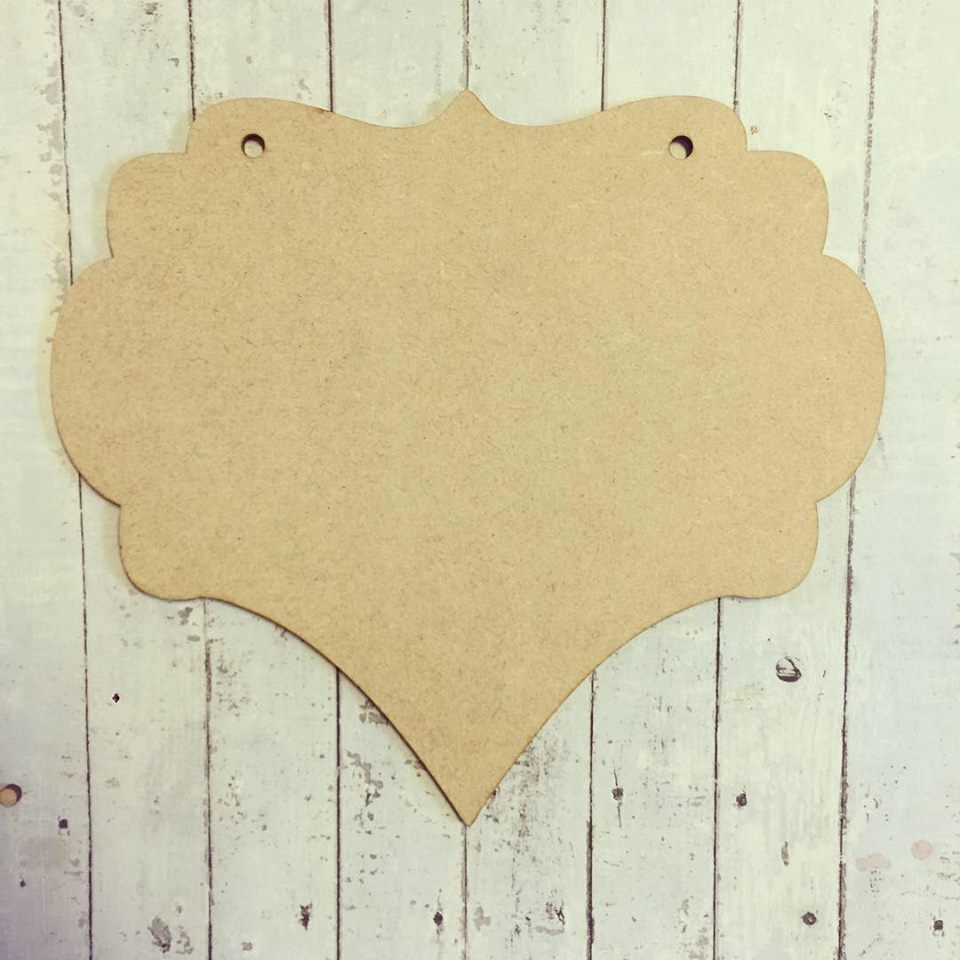 OL256 - MDF Style C Ornate Shaped Hanging Blank Plaque - Olifantjie - Wooden - MDF - Lasercut - Blank - Craft - Kit - Mixed Media - UK