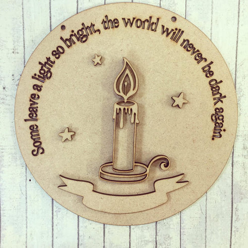 SJ078 - MDF Light So Bright - Candle Plaque
