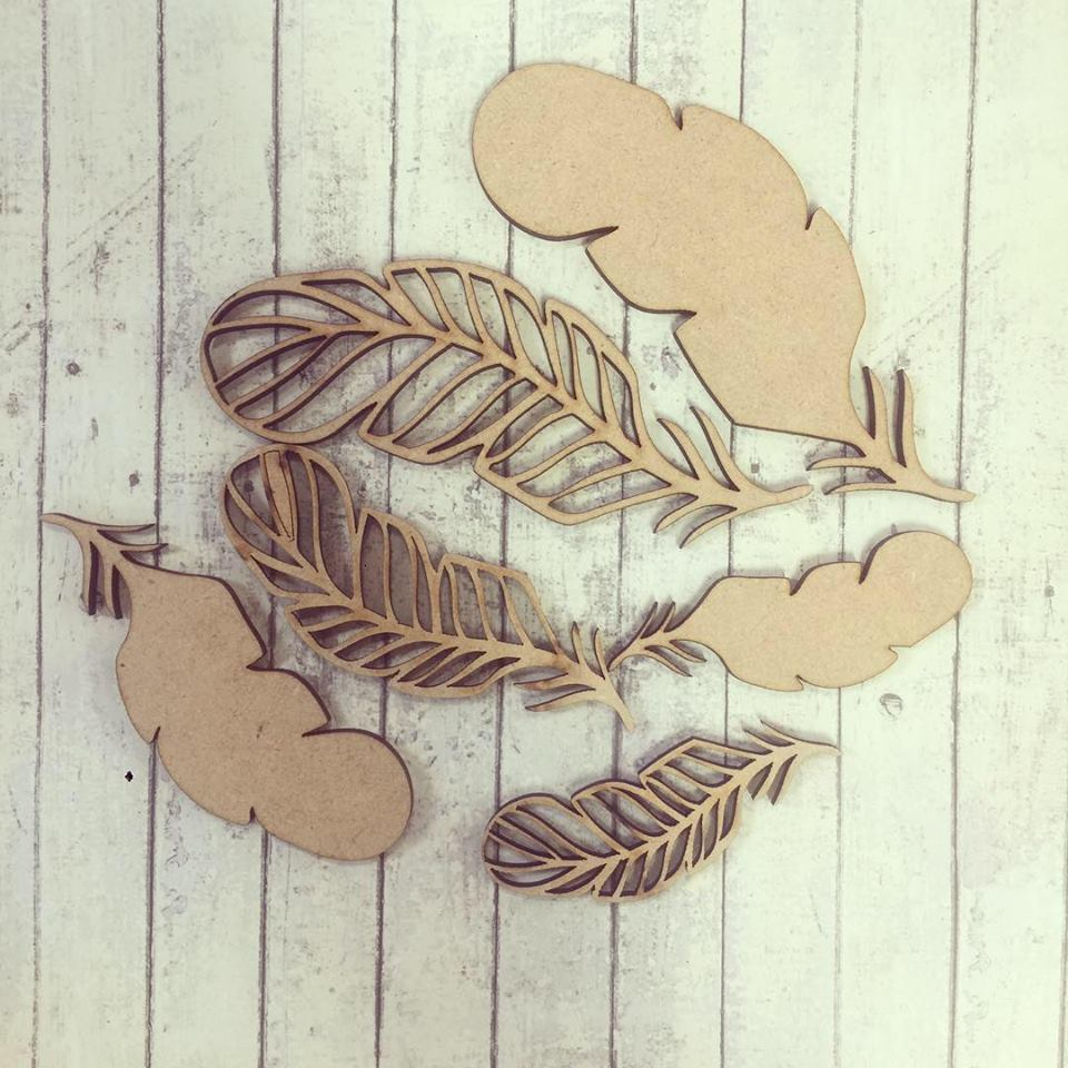 SJ086 - MDF Feathers - Set of 6 - Curved