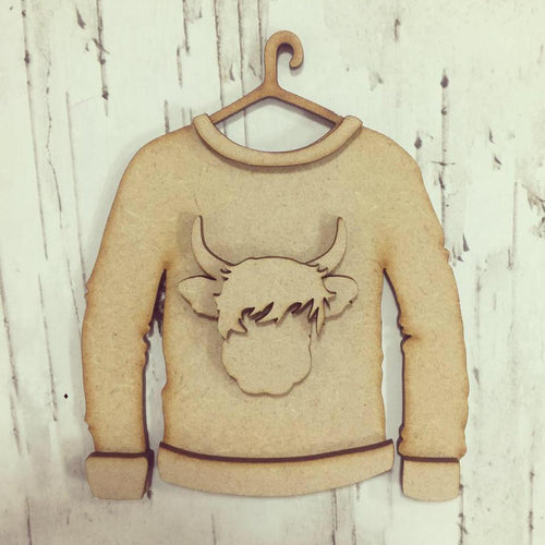 SJ115 - MDF Highland Cow Christmas Jumper