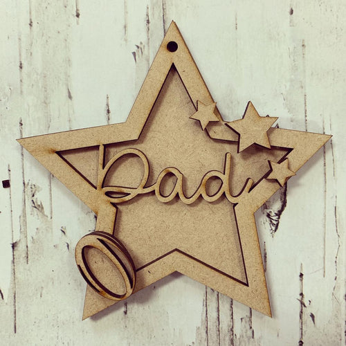 ST002 - MDF Hanging Star - Rugby Themed with Choice of Wording - 2 Fonts