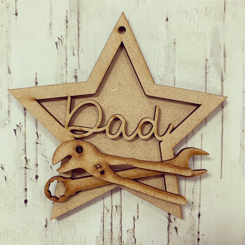 ST009 - MDF Hanging Star - Tools Themed with Choice of Wording - 2 Fonts
