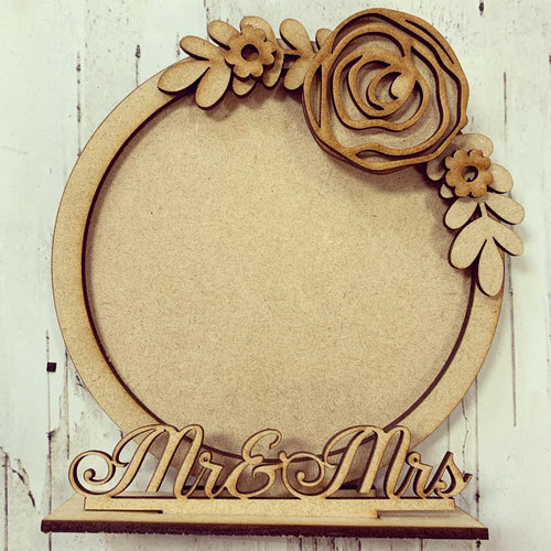 CF013 - MDF Rose Themed Personalised Freestanding Circular Photo Frame