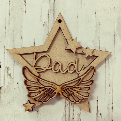 ST006 - MDF Hanging Star - Angel Wings Themed with Choice of Wording - 2 Fonts