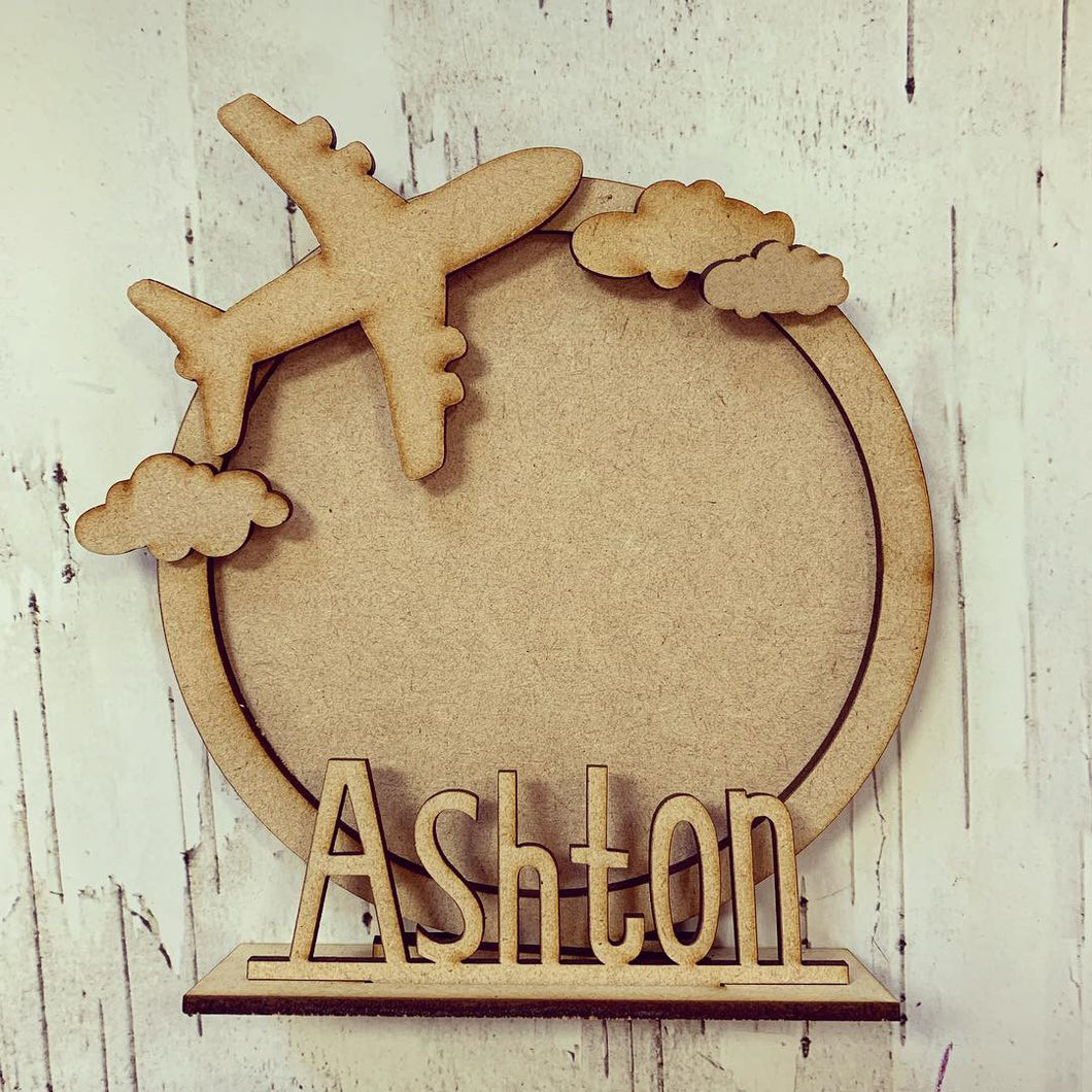 CF025 - MDF Plane Travel Themed Personalised Freestanding Circular Photo Frame