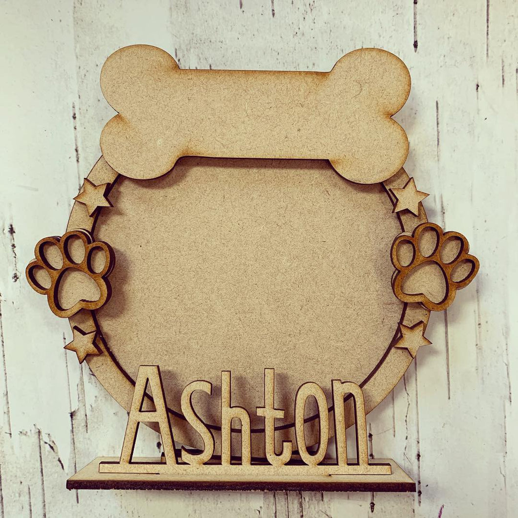 CF023 - MDF Dog Bone Themed Personalised Freestanding Circular Photo Frame - Olifantjie - Wooden - MDF - Lasercut - Blank - Craft - Kit - Mixed Media - UK