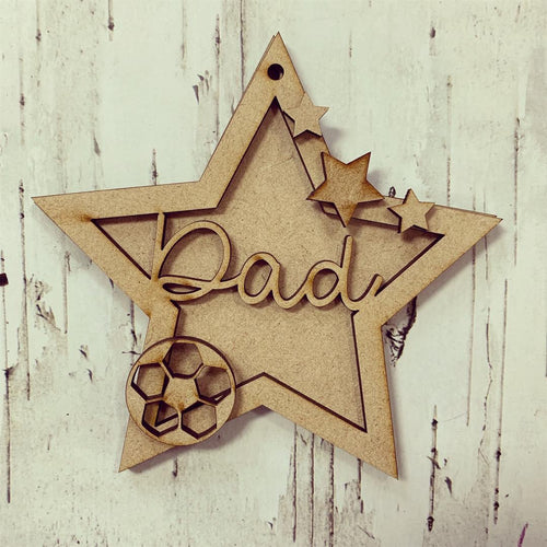 ST005 - MDF Hanging Star - Football Themed with Choice of Wording - 2 Fonts