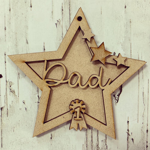 ST008 - MDF Hanging Star - Star and Rosette Themed with Choice of Wording - 2 Fonts