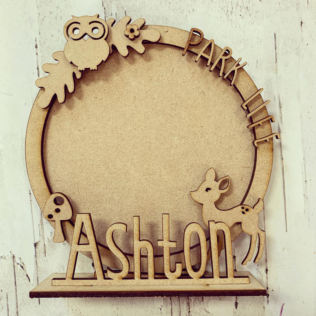 CF027 - MDF Woodland Park Themed Personalised Freestanding Circular Photo Frame - Olifantjie - Wooden - MDF - Lasercut - Blank - Craft - Kit - Mixed Media - UK