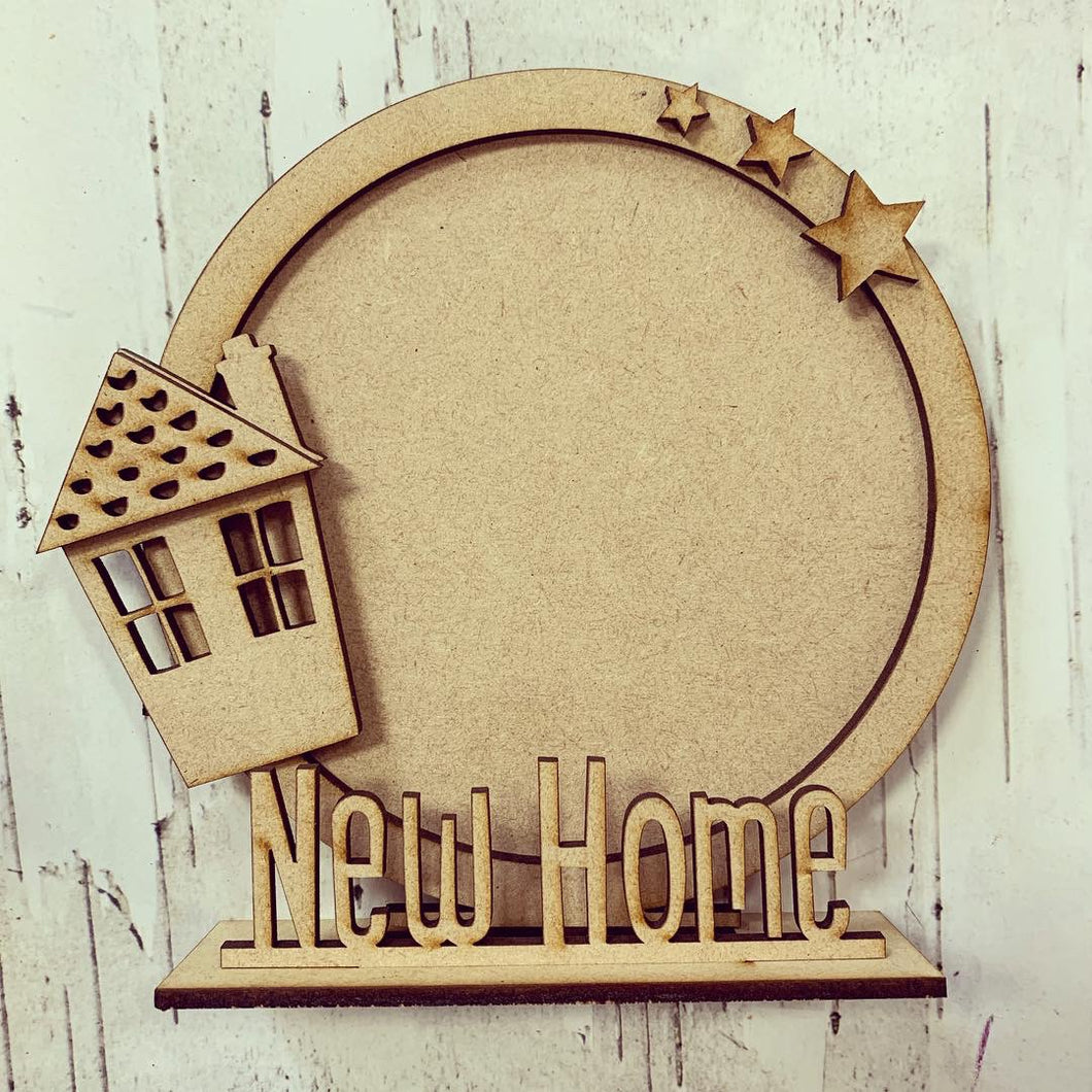 CF014 - MDF House Themed Personalised Freestanding Circular Photo Frame - Olifantjie - Wooden - MDF - Lasercut - Blank - Craft - Kit - Mixed Media - UK