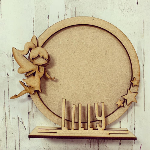 CF018 - MDF Fairy Themed Personalised Freestanding Circular Photo Frame