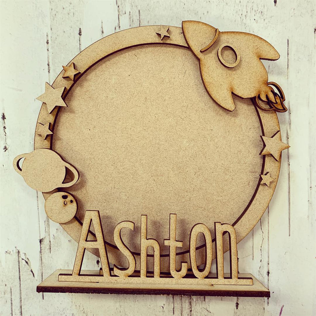 CF024 - MDF Space Themed Personalised Freestanding Circular Photo Frame