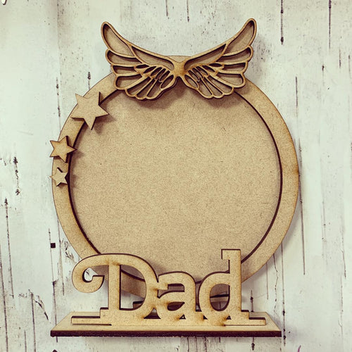 CF008 - MDF Angel Wings Themed Personalised Freestanding Circular Photo Frame