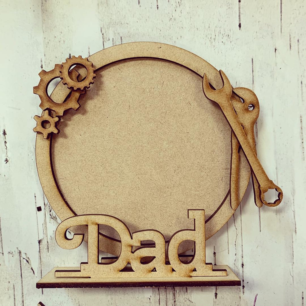 CF001 - MDF Tool Themed Personalised Freestanding Circular Photo Frame
