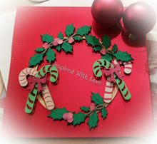 CH042 - MDF Candy Cane Holly Christmas Wreath