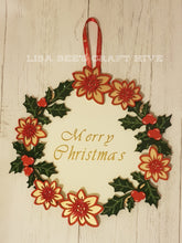 CH049 - MDF Large Poinsettia & Holly Wreath and Backing Plate