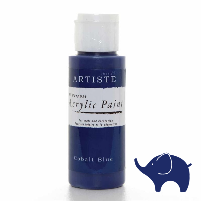 Cobalt Blue - Artiste Acrylic Paint 2oz - Olifantjie - Wooden - MDF - Lasercut - Blank - Craft - Kit - Mixed Media - UK