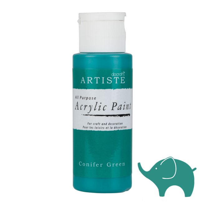 Conifer Green - Artiste Acrylic Paint 2oz - Olifantjie - Wooden - MDF - Lasercut - Blank - Craft - Kit - Mixed Media - UK