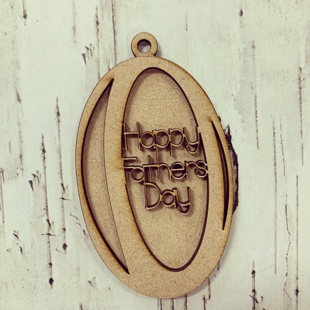 OB001 - MDF Hanging Rugby Ball Theme with Choice of Wording