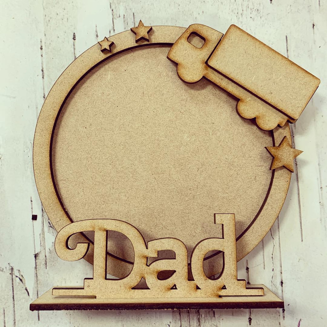 CF010 - MDF Truck Themed Personalised Freestanding Circular Photo Frame
