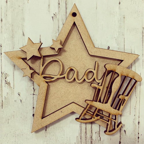 ST004 - MDF Hanging Star - Chair Feather Memorial Themed with Choice of Wording - 2 Fonts